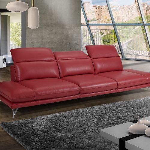 Divano rosso tre posti made in Italy