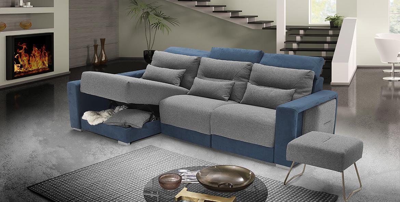 Divano relax tessuto antimacchia blu grigio made in Italy