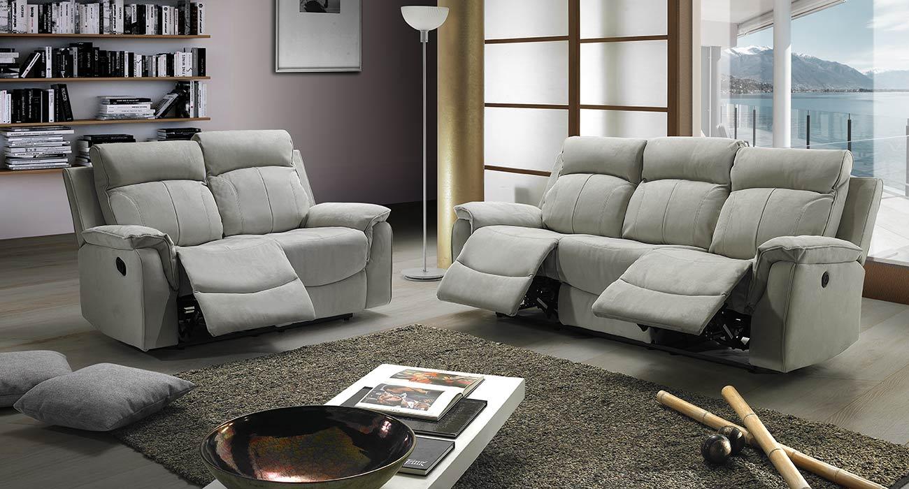 Divano relax grigio tre posti made in Italy