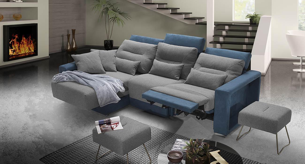 Divano relax bicolore grigio blu made in italy
