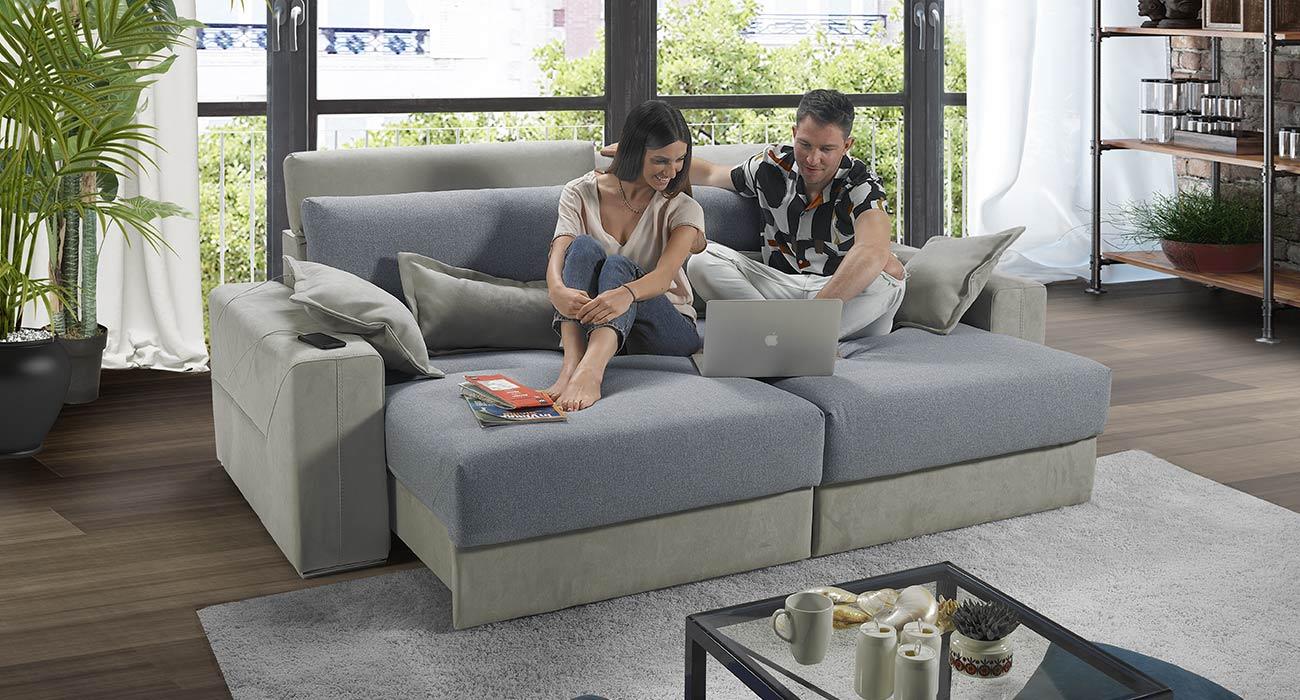 Divano relax bicolore grigio made in italy