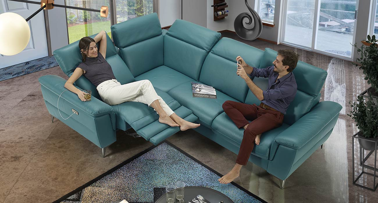 Divano relax turchese made in Italy