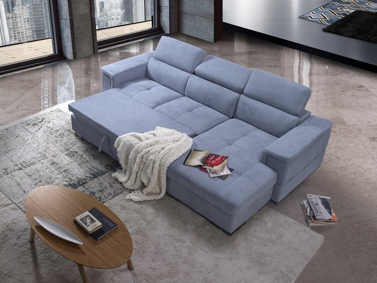 Divano letto contenitore maxiseduta blu azzurro made in Italy