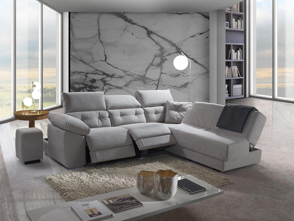 Divano relax grigio tessuto antimacchia made in Italy - Paros