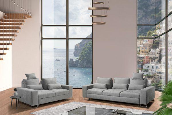 Divano letto contenitore maxiseduta grigio made in Italy - Milos