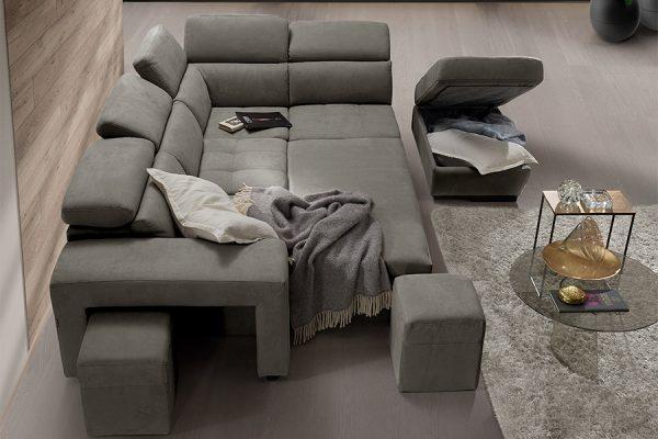 Divano letto maxiseduta contenitore grigio made in Italy - Milos