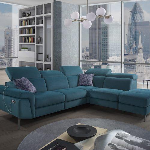 Divano letto relax blu azzurro vera pelle made in Italy - Vegas
